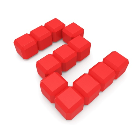 number 2 cubic red