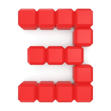 number 3 cubic red photo