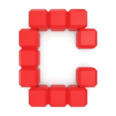 letter C cubic red photo