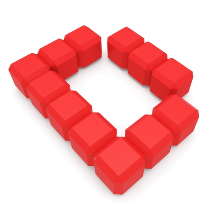 letter D cubic red photo