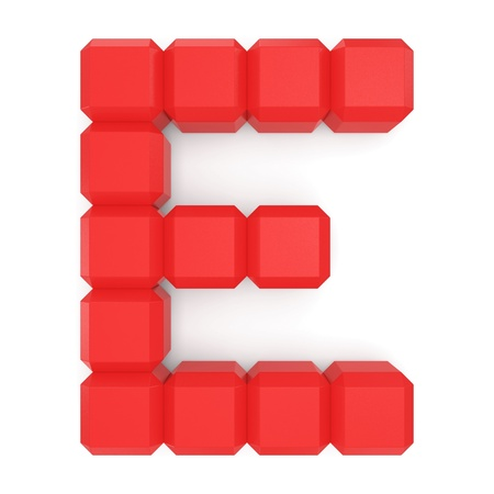 letter E cubic red Stock Photo