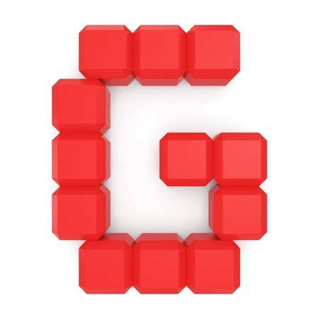 marked: letter G cubic red Stock Photo