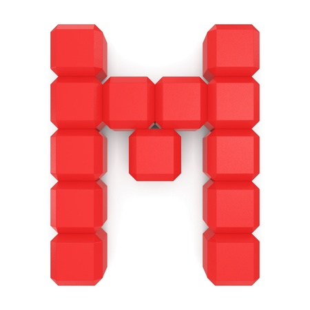 letter M cubic red photo