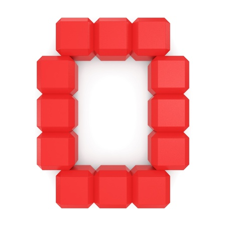 letter O cubic red