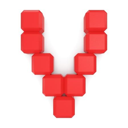 letter V cubic red photo