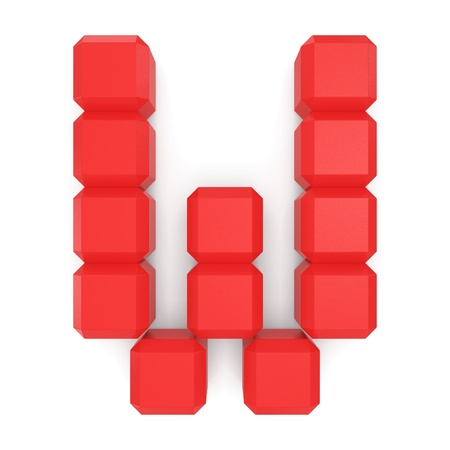 letter W cubic red photo