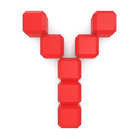 letter Y cubic red Stock Photo