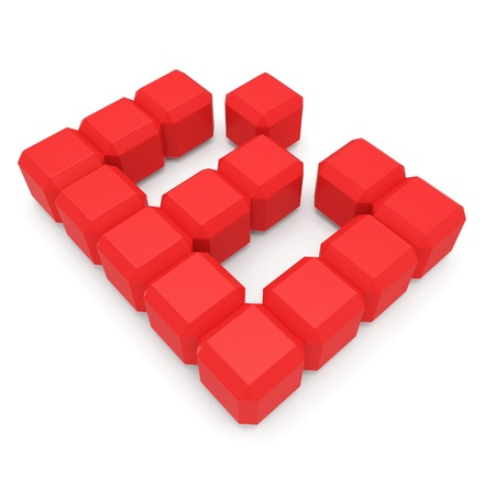 letter B cubic red photo