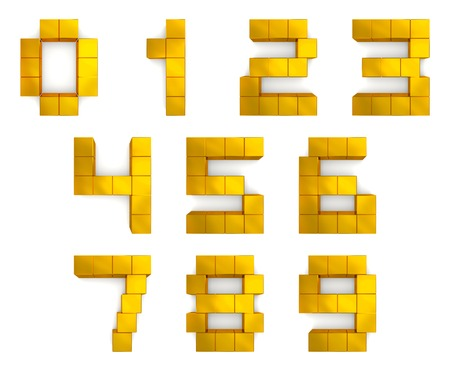 numbers 3d cubic golden photo
