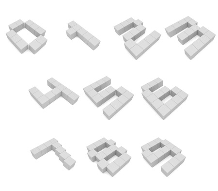 numbers 3d cubic white photo