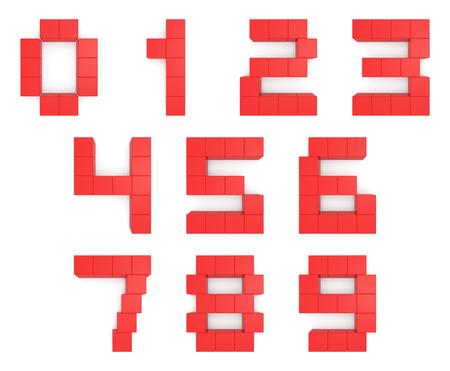 numbers 3d cubic red