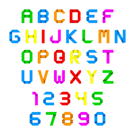 alphabet and numbers colorful origami Vector