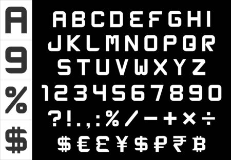 alphabet, numbers, currency and symbols pack - rectangular basic font, vector Vector