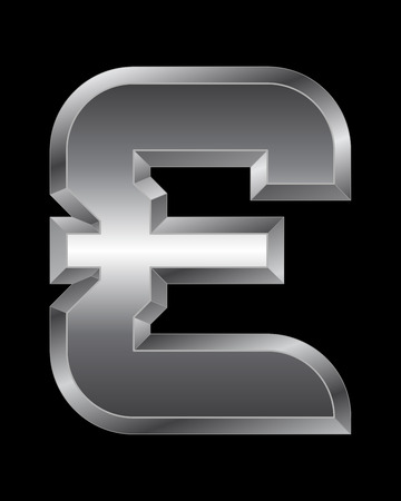 beveled: rectangular beveled metal font - pound currency symbol, vector