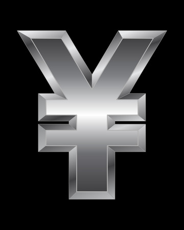 beveled corners: rectangular beveled metal font - yen and yuan currency symbol, vector