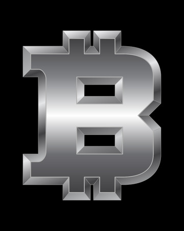 beveled corners: rectangular beveled metal font - bitcoin currency symbol, vector Illustration