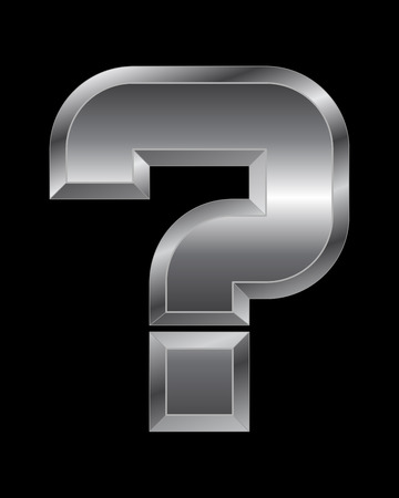 beveled corners: rectangular beveled metal font - question mark, vector