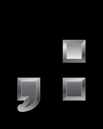 comma: rectangular beveled metal font - comma and 2 dots, vector