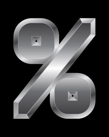beveled corners: rectangular beveled metal font - percentage sign, vector
