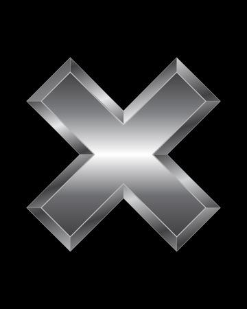 beveled corners: rectangular beveled metal font - multiplication sign, vector Illustration