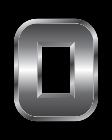 beveled corners: rectangular beveled metal font - number 0 vector