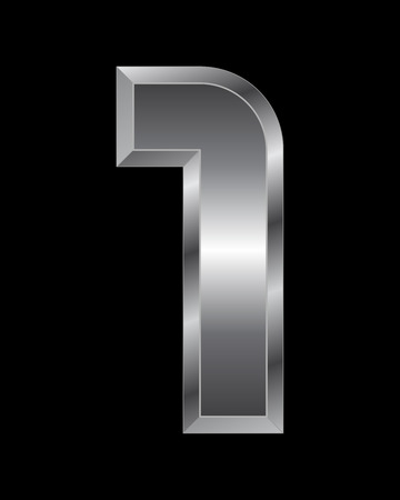 beveled: rectangular beveled metal font - number 1 vector