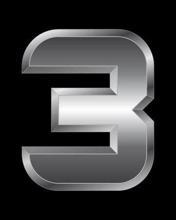 slick: rectangular beveled metal font - number 3 vector