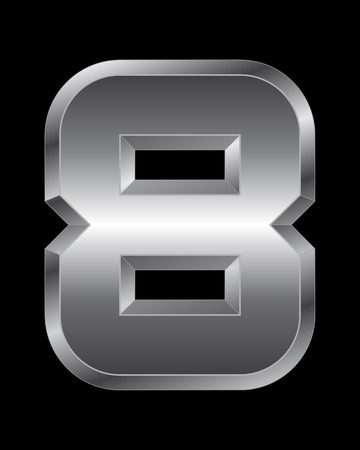 beveled: rectangular beveled metal font - number 8 vector