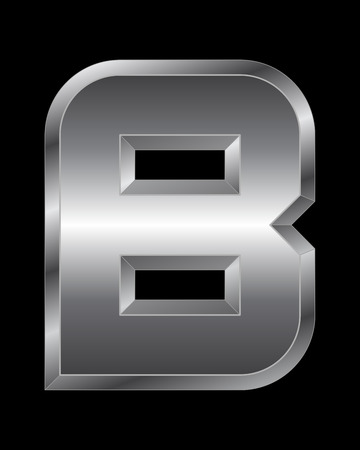 beveled: rectangular beveled metal font - letter B vector Illustration