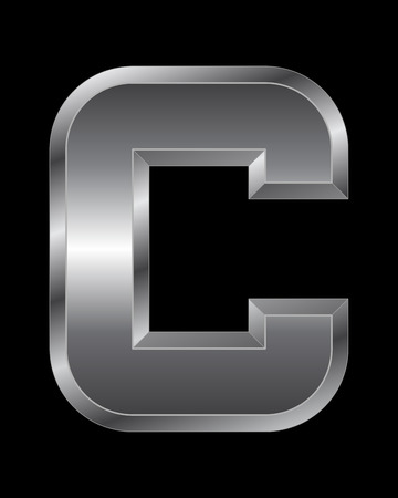 beveled corners: rectangular beveled metal font - letter C vector