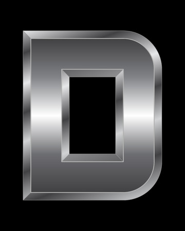 beveled corners: rectangular beveled metal font - letter D vector Illustration