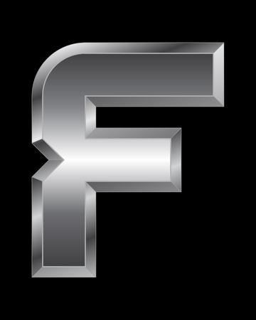beveled: rectangular beveled metal font - letter F vector Illustration