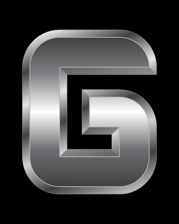beveled: rectangular beveled metal font - letter G vector