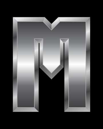 beveled corners: rectangular beveled metal font - letter M vector