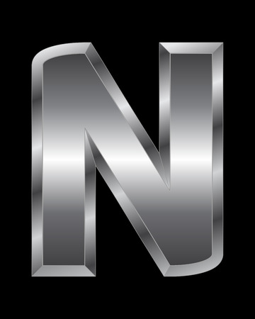 beveled: rectangular beveled metal font - letter N vector