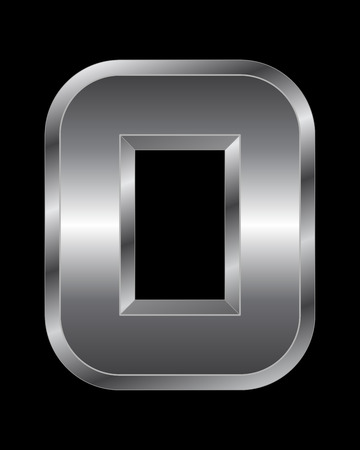 beveled: rectangular beveled metal font - letter O vector