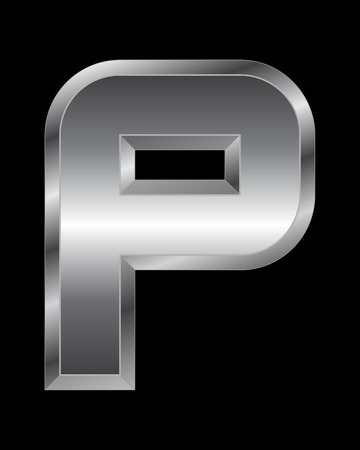 beveled corners: rectangular beveled metal font - letter P vector