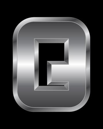 beveled corners: rectangular beveled metal font - letter Q vector