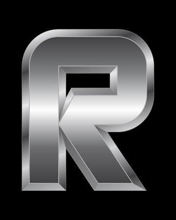 beveled corners: rectangular beveled metal font - letter R vector