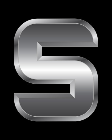 beveled corners: rectangular beveled metal font - letter S vector Illustration