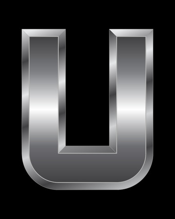 beveled corners: rectangular beveled metal font - letter U vector Illustration