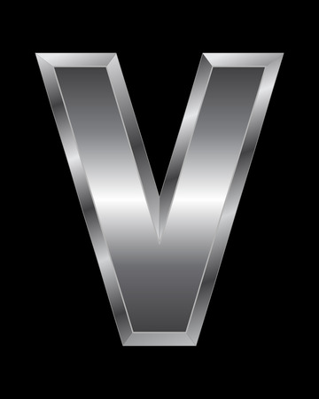 beveled corners: rectangular beveled metal font - letter V vector
