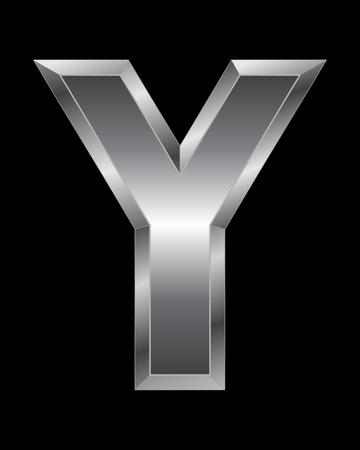 beveled corners: rectangular beveled metal font - letter Y, vector Illustration