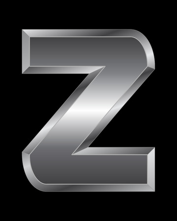 beveled corners: rectangular beveled metal font - letter Z vector Illustration