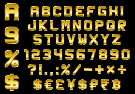 alphabet, numbers, currency and symbols pack - rectangular beveled golden font, vector Vector