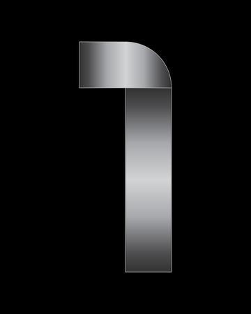 boxy: rectangular bent metal font - number 1