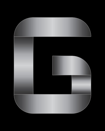 rectangular bent metal font - letter G