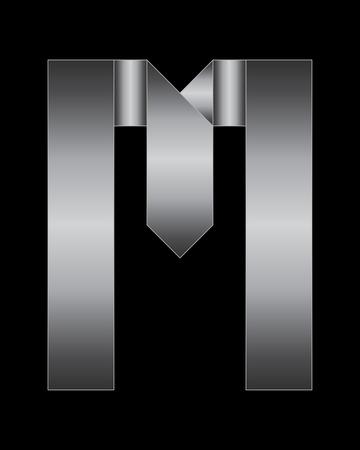 letra m: fuente rectangular met�lica doblada - letra M
