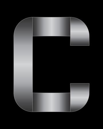 boxy: rectangular bent metal font - letter C Illustration