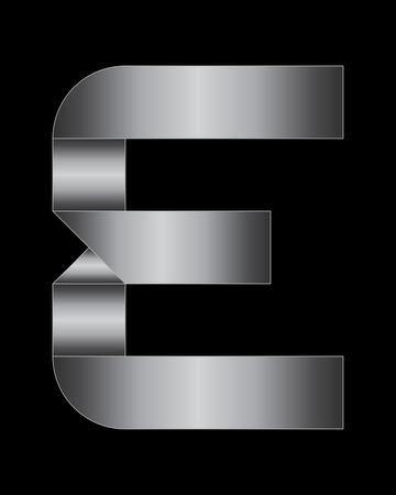 boxy: rectangular bent metal font - letter E